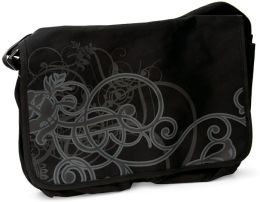 Black Scroll Design Canvas Messenger Bag (16.5