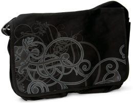 Black Scroll Design Canvas Messenger Bag (16.5