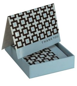 Jonathan Adler Kensington Blue Thank You Note Cards, Set of 8