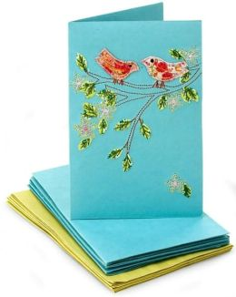 Teal Touching Birds Embroidered Notecard