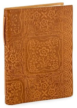 Floral Lace Squares Tan Italian leather Lined Journal ( 6