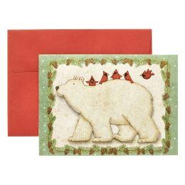 Polar Friends (Polar Bear with Cardinals) Christmas Boxed Card