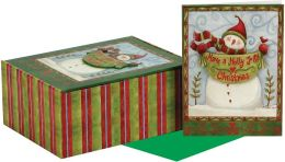 HOLLY JOLLY SNOWMAN TIP ON CHRISTMAS BOXED CARD
