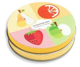 Fruit Collage Tin Coaster Set