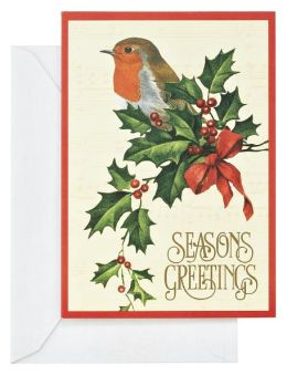 Robin on Holly Leaf Christmas Boxed Card