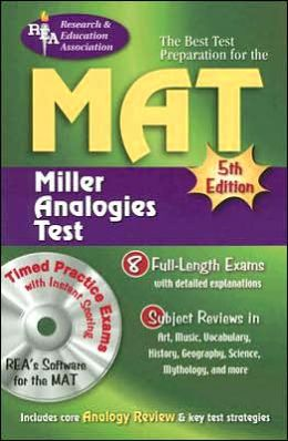 MAT w/ CD-ROM (REA) -- The Best Test Preparation for the Miller Analogy Test