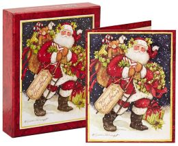 Snowy Night Santa Christmas Boxed Card