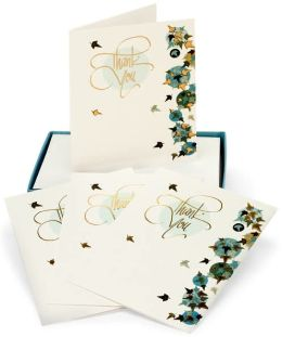 Blue and Gold Leaves Thank You Boxed Card Set of 12