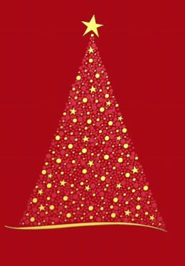 SPARKLE TREE RED CHRISTMAS BOXED CARD