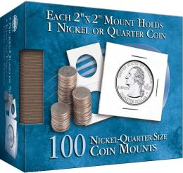 Nickel-Quarter 2X2 Coin Mounts Cube, 100 Count