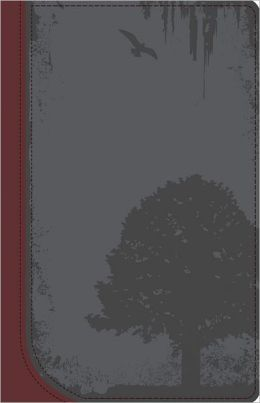 God Guy Bible Charcoal/Burgundy, Grunge Tree Design Duravella