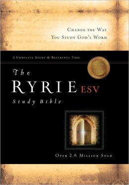 The Ryrie ESV Study Bible Calfskin Leather Black Red Letter Indexed
