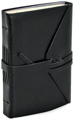 Bombay Black Leather Wrap Journal with Tie (4