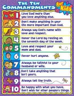 The Ten Commandments for Kids Chart