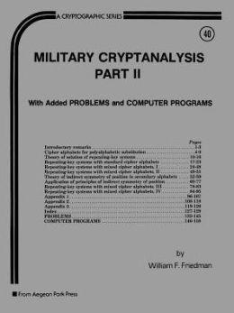 Military Cryptanalysis, Part II