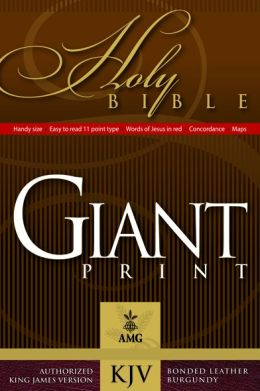 Handy Size Giant Print (10 point type) Holy Bible: King James Version (KJV), burgundy bonded leather, gold-edged, words of Christ in red, with concordance