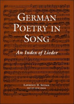 German Poetry in Song: An Index of Lieder