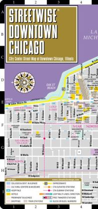 Streetwise Downtown Chicago Map - Laminated Street Map of Downtown Chicago, Illinois - Folding Pocket Size Travel Map With Metro (2014)