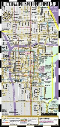 Streetwise Chicago Bus, CTA & Metra Map - Laminated Chicago Public Transportation Map - Minimetro - Folding Pocket Size Travel Map (2010)