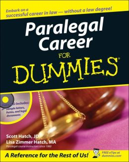 Paralegal Career For Dummies By Scott Hatch border=