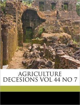 AGRICULTURE DECESIONS VOL 44 NO 7
