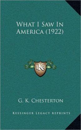 What I Saw in America (1922)