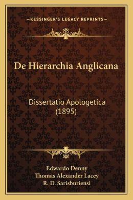 de Hierarchia Anglicana: Dissertatio Apologetica (1895)