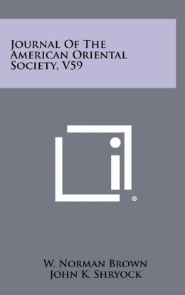 Journal of the American Oriental Society, V59