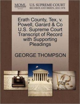 Erath County, Tex, V. Powell, Garard & Co U.S. Supreme Court Transcript Of Record With Supporting Pleadings