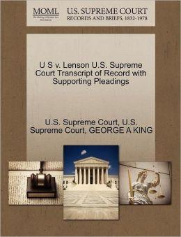 U S v. Lenson U.S. Supreme Court Transcript of Record with Supporting Pleadings