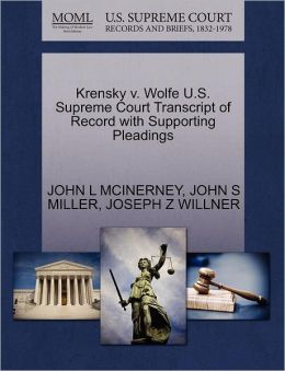Krensky V. Wolfe U.S. Supreme Court Transcript Of Record With Supporting Pleadings