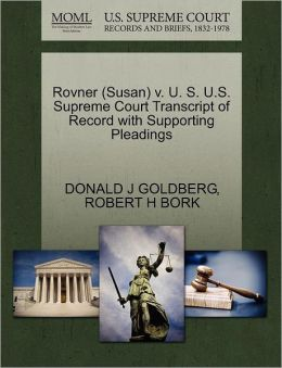 Rovner (Susan) V. U. S. U.S. Supreme Court Transcript Of Record With Supporting Pleadings