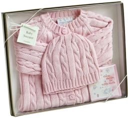 Pink Cable Sweater & Hat - 6 Months