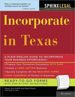 Incorporate in Texas