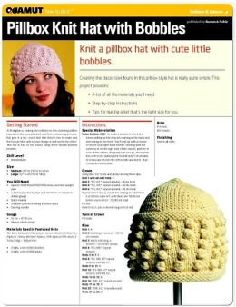 Knitting: Pillbox Knit Hat with Bobbles (Quamut)