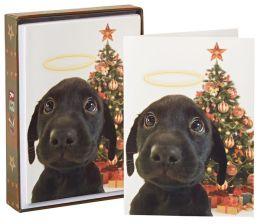 Puppy with Halo and Tree Christmas Boxed Cards