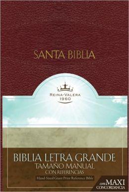 RVR 1960 Biblia Letra Granda Tamaño Manual con Referencias, borgoña imitación piel con índice