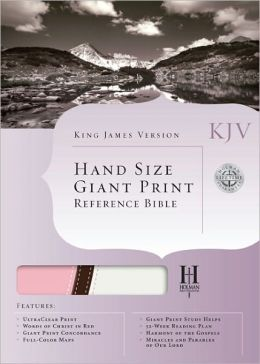 KJV Hand Size Giant Print Reference Bible, Pink/Brown/White LeatherTouch