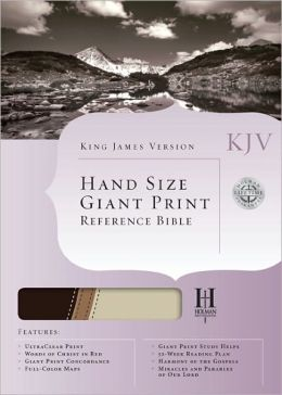 KJV Hand Size Giant Print Reference Bible, Brown/Tan LeatherTouch