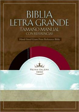 RVR 1960 Biblia Letra Grande Tamaño Manual con Referencia, negro/borgoña símil piel