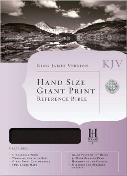 KJV Hand Size Giant Print Reference Bible, Burgundy Genuine Leather