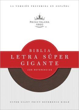 RVR 1960 Biblia Letra Súper Gigante con Referencias, marrón símil piel