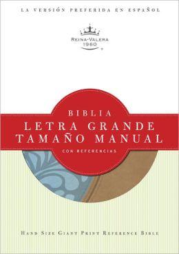 RVR 1960 Biblia Letra Grande Tamano Manual con Referencias, celeste/caqui simil piel