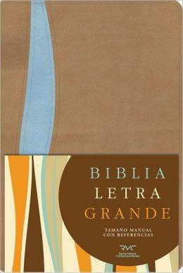 RVC Biblia Letra Grande Tamano Manual, tostado/azul simil piel con indice