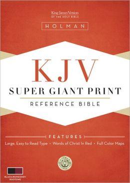 KJV Super Giant Print Reference Bible, Black/Burgundy Simulated Leather