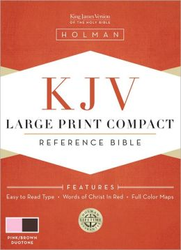 KJV Large Print Compact Bible - Pink/Brown Simulated Leather