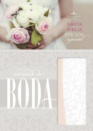 RVR 1960 Biblia Recuerdo de Boda, filigrana blanca/rosa palo simil piel