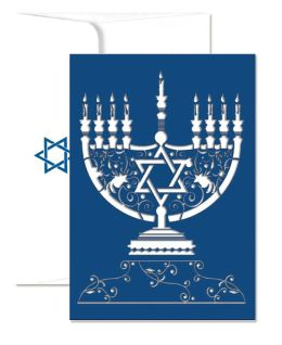 Menorah Laser Cut Hanukkah Boxed Card
