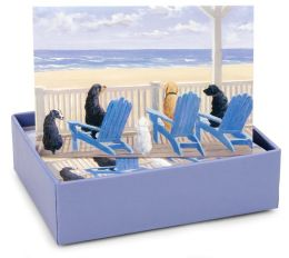 Dogs On Deck Chairs Note Card Set Of 14