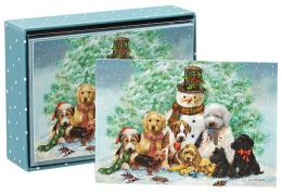Puppies and Snowman Christmas Boxed Card